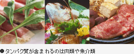 タンパク質が含まれるのは肉類や魚介類